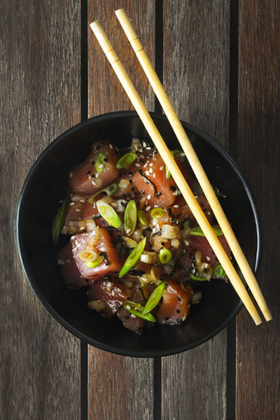 healthy fish recipes - poke bowl