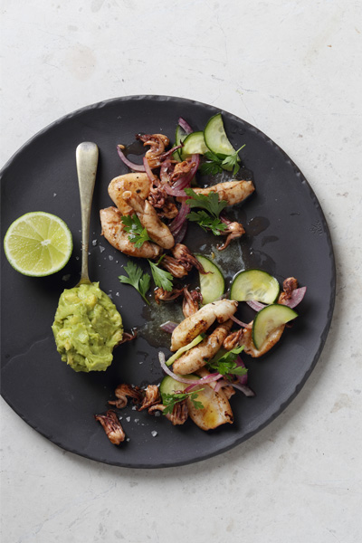 different ways to use guacamole - chargrilled calamari with cucumber and guacamole