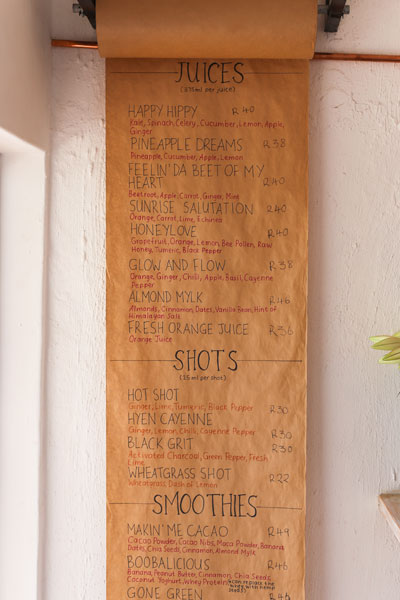Menu at Nourish'd Café and Juicery in Gardens, Cape Town
