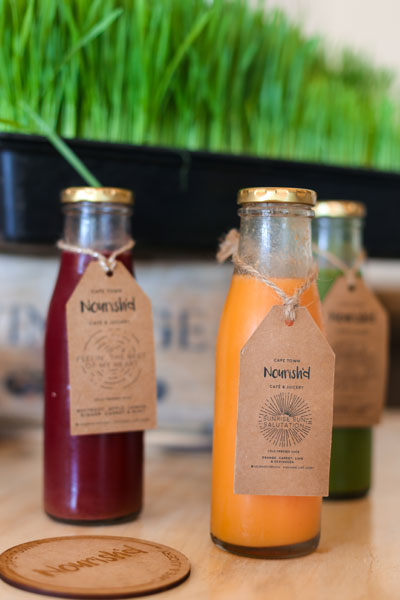 Smoothies at Nourish'd Café and Juicery in Gardens, Cape Town