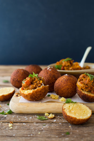 Mini Vetkoek and Curried Mince