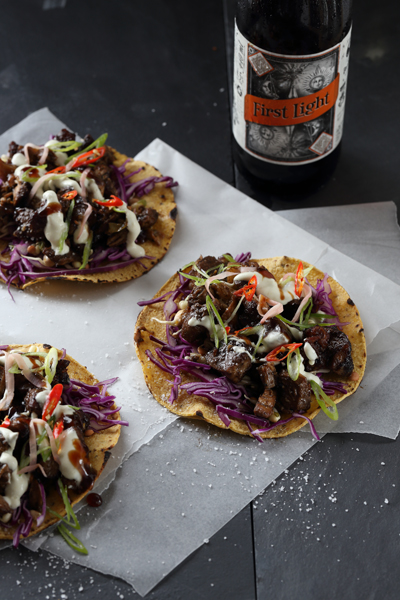 Asian Beer-Braised Pork Neck Tacos