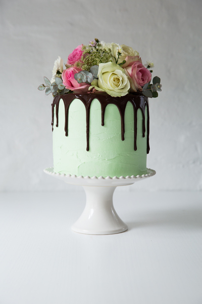 Chocolate Cake with Mint Buttercream and Chocolate Ganache