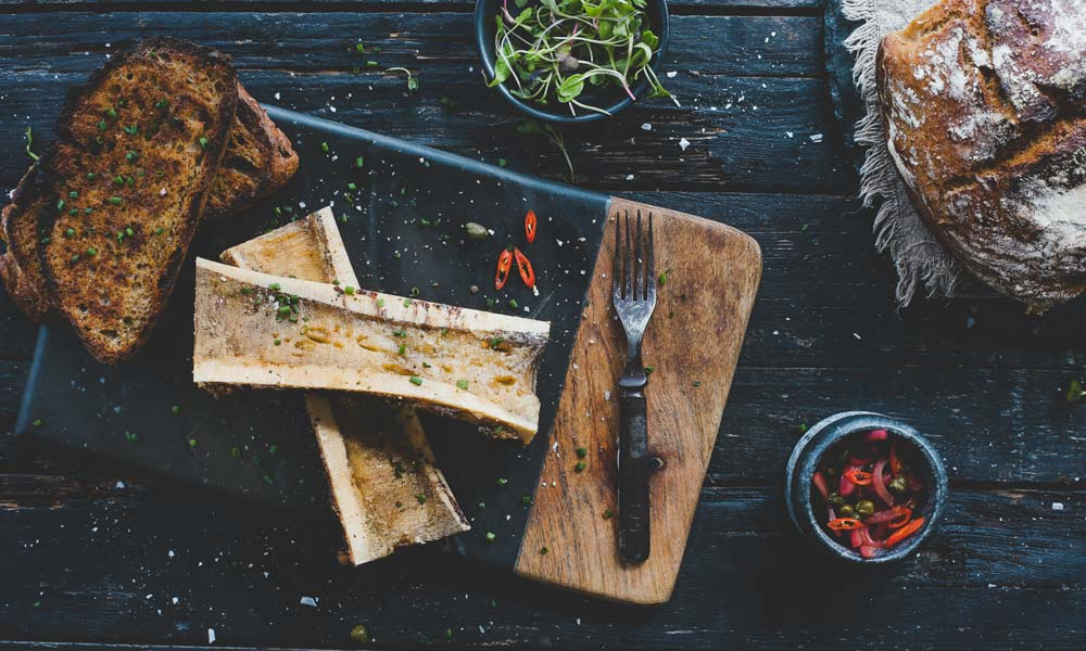 Roasted Bone Marrow with No Knead Bread