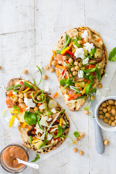 Chicken and Veg Naan Pizzas