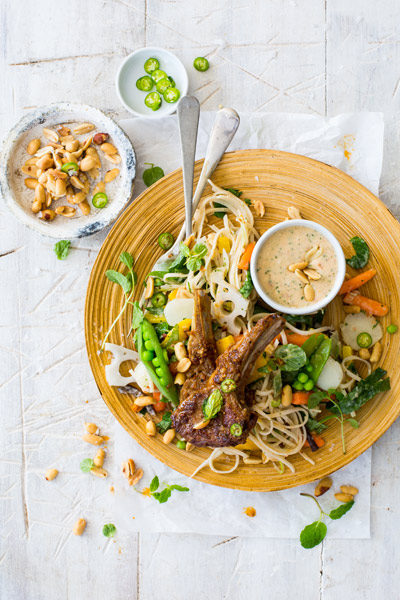 Noodle Salad with Lamb Chops and Coconut Dressing