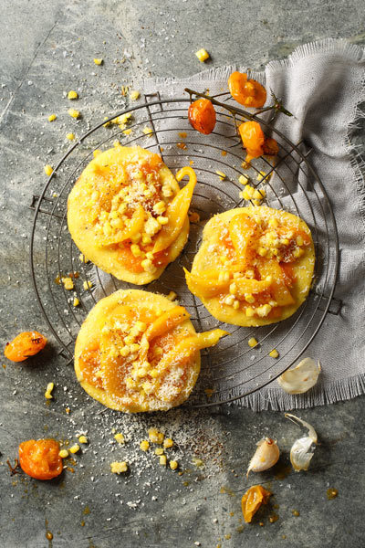 Polenta Pizzas with Roasted Yellow Peppers