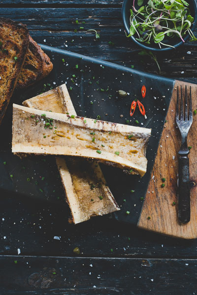 Roast Bone Marrow on No Knead Bread Toast