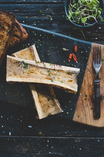 Roast Bone Marrow on No Knead Bread Toast