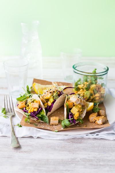 Quick and Easy Taco recipes - sriracha vegan nugget taco