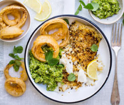 Tartare-Crusted-Grilled-Fish-with-Mushy-Peas-and-Beer-Battered-Onion-Rings-4x6