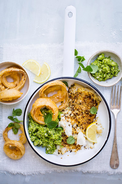 healthy fish recipes - tartare-crusted-grilled-fish-mushy-peas-beer-battered-onion-rings