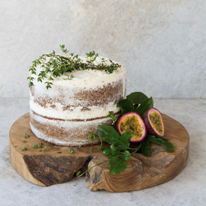Vanilla Sponge with Thyme and Granadilla Buttercream 3x3