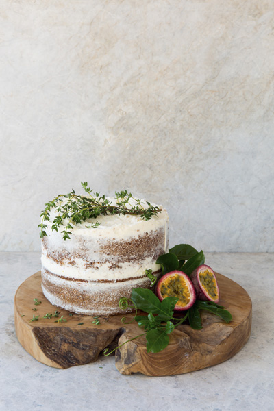 Vanilla Sponge with Thyme and Granadilla Buttercream