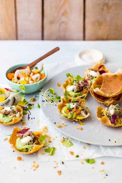 healthy fish recipes - wonton cups with tuna tartare