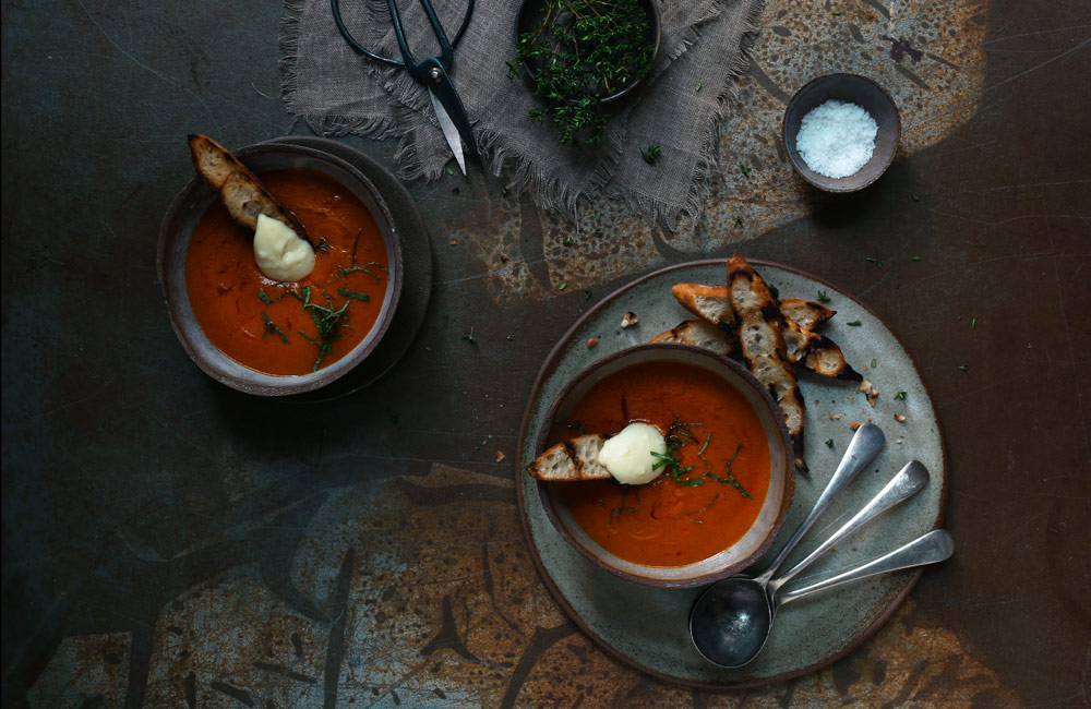 Cheese Recipes Creamy Red Pepper & Brie Soup