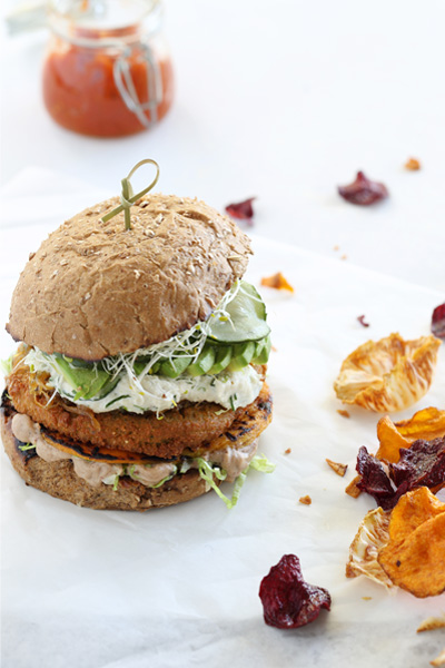 Vegan Burger with Black Bean Hummus