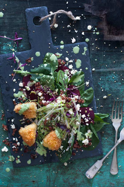recipes with honey beetroot baby spinach salad with panko crumbed brie