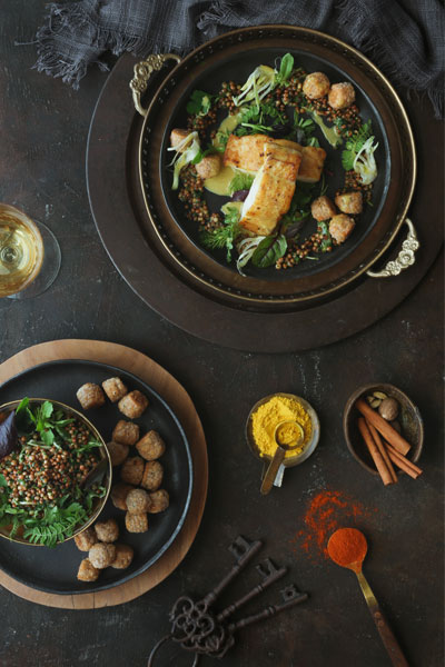 Curried Kingklip with Sorghum Salad