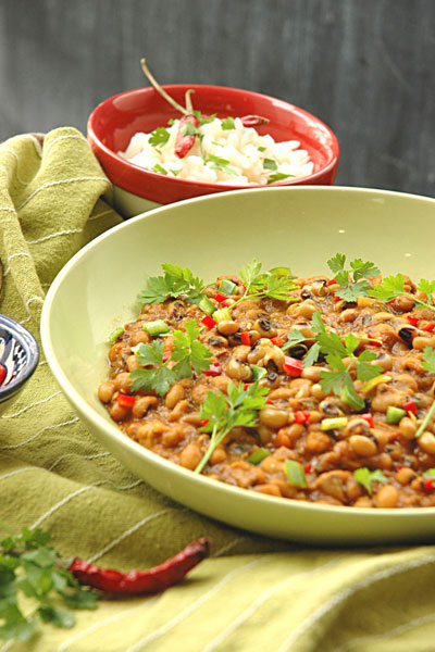 waterless cooking curried beans
