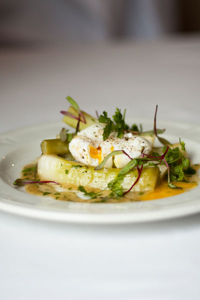 Leeks with Vinaigrette and Poached Eggs