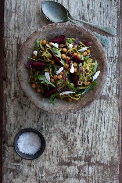Linguine with Kale Pesto Salt Baked Beetroot and Crispy Chickpeas