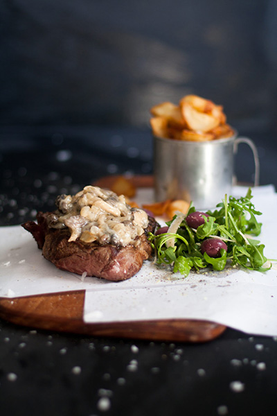 Rib Eye Steak with Green Peppercorn & Mushroom Sauce