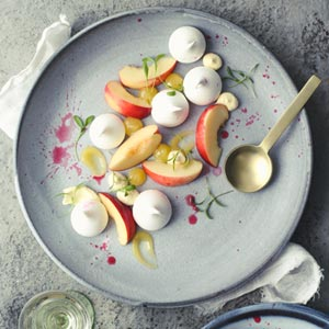 Fresh Stone Fruit with Meringue