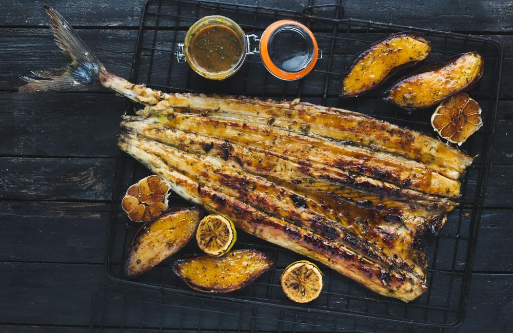 tasty seafood recipes - whole braaied snoek