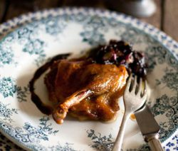 Duck Confit with Olive & Red Onion Marmalade