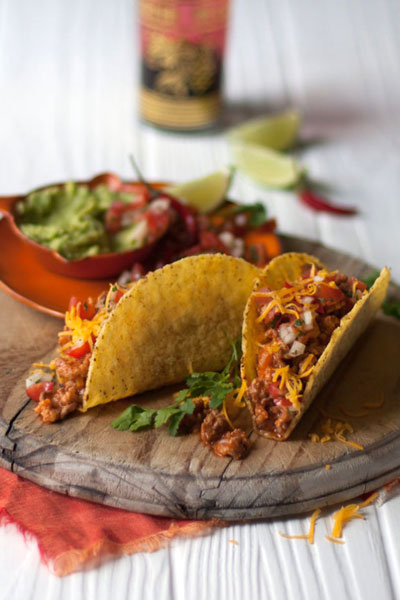Mexican Food - Tacos with Chilli Salsa and Guacamole
