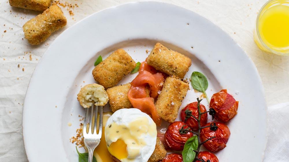 crispy croquette eggs benedict