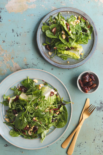 Spinach, Baby Gem and Herb Salad with Dates