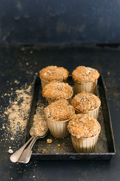Apple Muffins with Macadamia Nut Streusel Topping