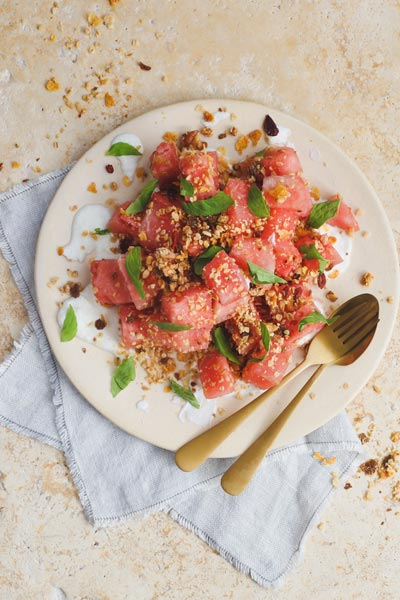 Watermelon labneh Salad with Granola