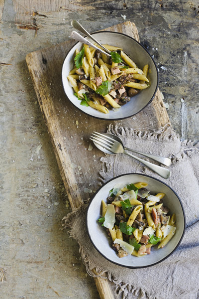 Autumn in South Africa penne pasta with mushrooms and gammon
