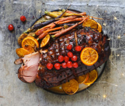 Honey-and-Cherry-Roast-Gammon-with-Knodel-and-Glazed-Carrots-4x6
