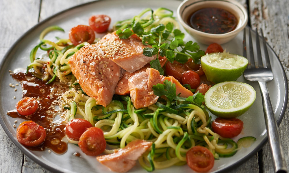 Roasted Trout with Courgetti Sarah Graham's Roasted Trout with Courgetti