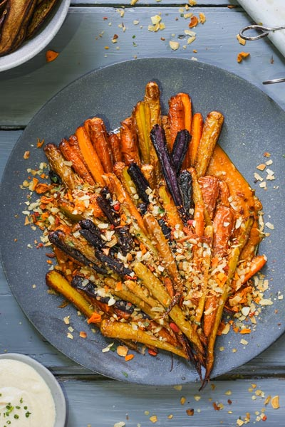 Roasted Carrots with Carrot Granola and Carrot Purée