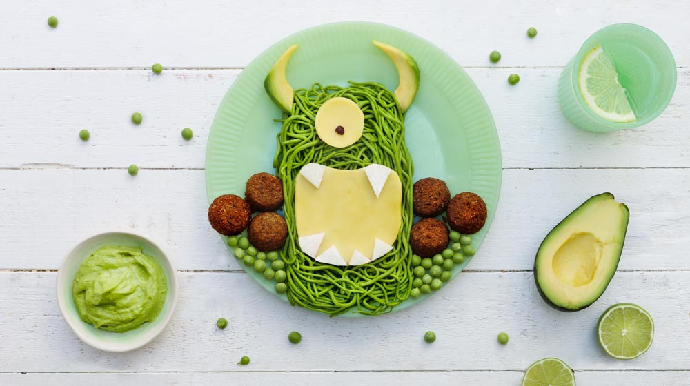 kids Vegan Spinach and pea monster pasta