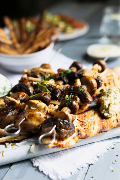 vegan mushroom kebabs