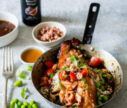 Balsamic and Honey-Glazed Trout with Bacon and Edamame Beans