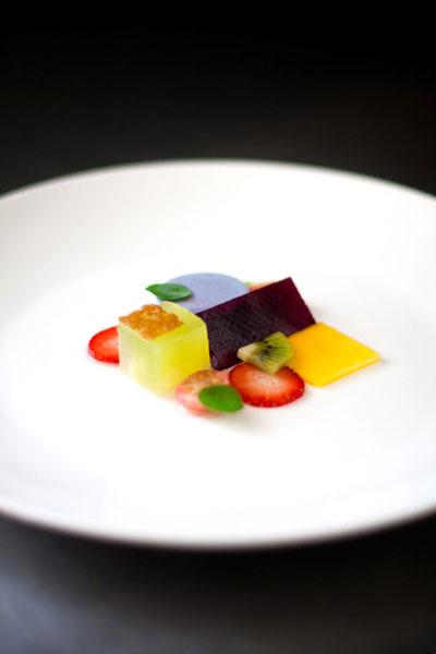 food presentation Fruit Salad Panna Cotta