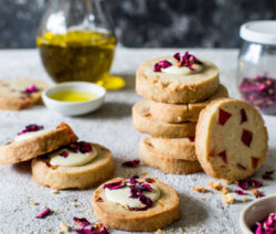 Turkish Delight and Olive Oil Shortbread with White Chocolate and Dried Rose Petals