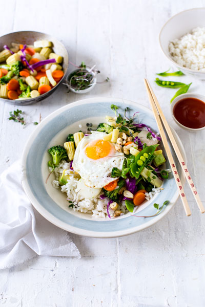 sticky asian rice bowl