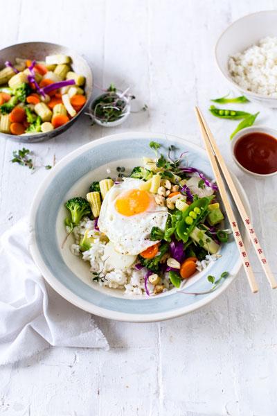 sticky asian rice bowl