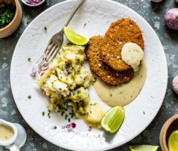 vegan schnitzel w creamy dill sauce