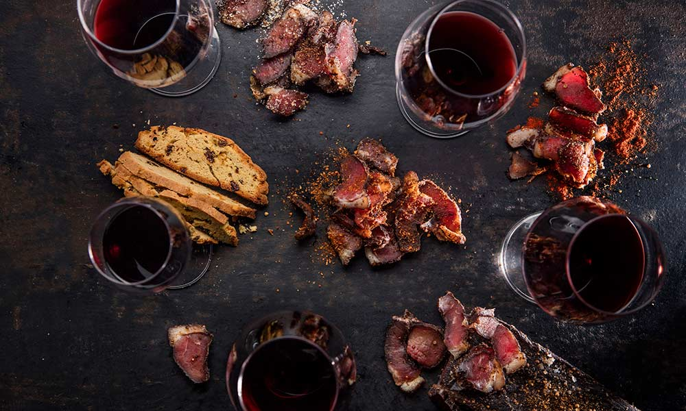 wine and biltong pairing