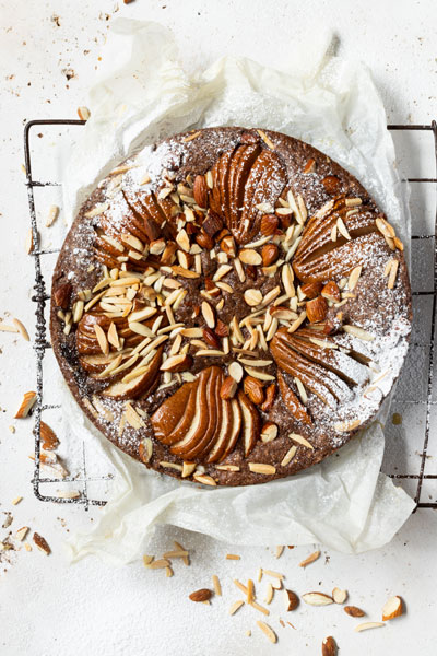 Chocolate Olive Oil Torte with Cardamom, Pears