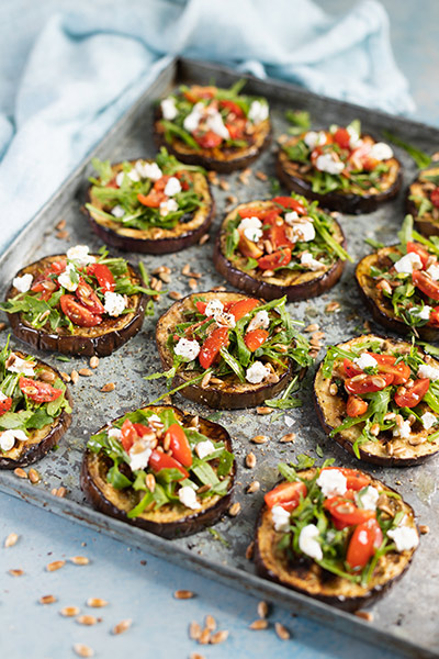 Grilled Aubergine with Tomato, Rocket and Goats Cheese